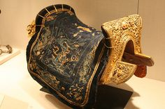 Tibetan Saddle Chinese for the Tibetan market 17th-18th cent. iron,,wood,silk and leather