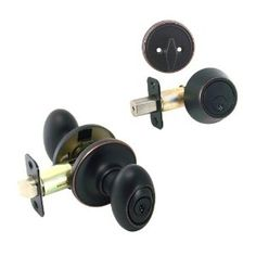 Backyard Doorknob - Somerset Oil Rubbed Bronze Entry Knob with Matching Single Cylinder Deadbolt Combo Pack Keyed Alike (We Key Lock Orders Alike for Free) - Amazon.com $26.98