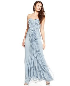Adrianna Papell Strapless Pleated Gown - Dresses - Women - Macy's
