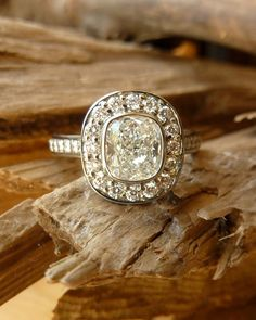 Cushion Cut White Diamond Halo Ring