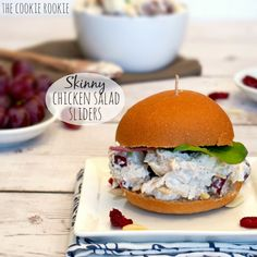 Skinny Chicken Salad Sliders made with Greek Yogurt! Healthy chicken salad? yes please! - The Cookie Rookie