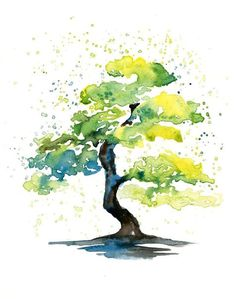 Ideas for abstract watercolor tree tattoo beautiful Watercolor Trees, Watercolor Landscape, Abstract Watercolor, Landscape Paintings, Watercolor Paintings, Watercolor Water, Landscape Tattoo, Tattoo Watercolor, Green Watercolor