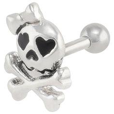 Lovestruck Skull & Crossbones .925 Sterling Silver Helix Cartilage Earring at FreshTrends.com