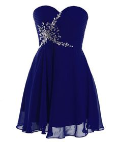 Fashion Plaza Short Strapless Sweetheart Prom Dress Crystal D0371 (US4, Navy Blue)