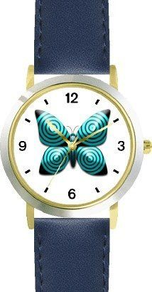 Teal & Black Concentric Circles Butterfly - JP Animal - WATCHBUDDY® DELUXE TWO-TONE THEME WATCH - Arabic Numbers - Blue Leather Strap-Size-Children's Size-Small ( Boy's Size & Girl's Size ) WatchBuddy. $49.95