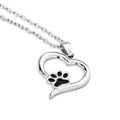 Hollow Pet Paw Print Necklaces Cute Animal Dog cat Memorial jewelry Pet Lover Puppy Paw Heart Charm Black Enamel Necklace Girls //Price: $7.95 & FREE Shipping //     #catstore