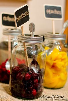 Mason Jars Fruits/Signs, pair with champagne bottle= mimosa bar cute details, great idea for Bridal Shower