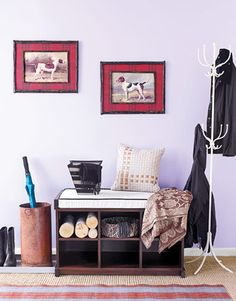 Create an Instant Mudroom  Start with a bench — it provides both a focal point and a place to slip on boots; individual cubbies offer family members a catchall for scarves and gloves. A boot tray collects shoes along with drips and mud; a rug softens the surface underfoot. Then use accessories to establish your style.