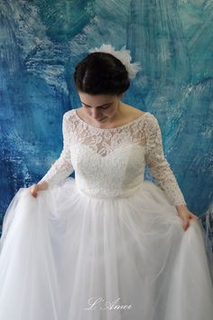 Paris Inspired White Long-Sleeved Stretch Lace Bridal by LAmei
