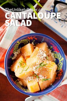 Cantaloupe salad — fresh, refreshing, scrumptious and takes no time at all. Toss in vinaigrette, sprinkle with feta cheese, top with fresh basil, enjoy. It's your favourite summer salad perfect as a light lunch, snack or side dish for your next BBQ party.  #summer #summersalad #fruitsalad #lightsalad Salad Recipes For Dinner, Fruit Salad Recipes, Party Recipes, Sweets Recipes, Vegan Recipes, Easy Salads, Summer Salads, Easy Meals, Best Side Dishes