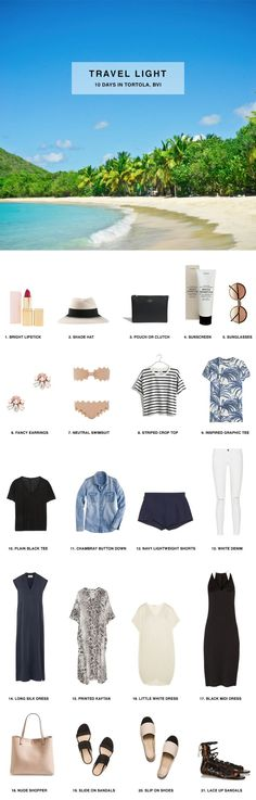 Pack for 10 Days in Tortola, British Virgin Islands, includes packing list and outfits.