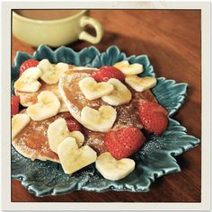 Heart shaped banana slices!  Easy to do!