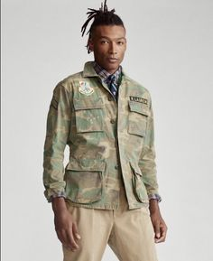 Military Fashion, Mens Fashion, Camo Patterns, Military Jacket, Polo Ralph Lauren, Button Down Shirt, Menswear, Army Style, Military Style