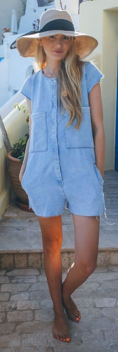 Denim Romper Summer Style by Barefoot Blonde Denim Romper, Romper Outfit, Denim Fashion, Trendy Fashion, Fashion Outfits, Playsuits, Jumpsuits, Hippy Chic, Barefoot Blonde