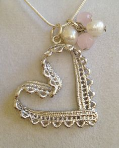 Silver Heart with Rose Quartz and Saltwater Pearl by joytoyou41, $30.00