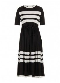 Knit Dress with Stripes Black/White