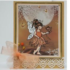 Earthtones fairy in the moonlight created by Elaine of wheelerscraftiness.blogspot.co.uk for the Whoopsi Daisy Challenge blog. Wonderful texture and dimension. #Fairy, #Fairie, #FairyCard, #FairieCard, #HandmadeCard, #HomemadeCard, #HandcraftedCard, #Card, #CardIdea, #BlankCard, #Notecard, #HandmadeNotecard, #CardBlankInside, #Scenes, #CardwithScene, #ScenicCard, #HandmadeCardWithScene