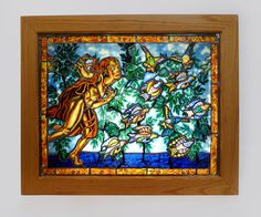 "Judith Schaecter, When the Hunter Sings the Birds Take Wing, Stained glass panel; wood-framed lightbox, 25"" x 31"" x 8"" (framed), 1991"
