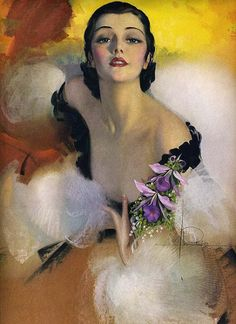 ANTIQUE 1930s ART DECO RARE ROLF ARMSTRONG PIN UP PRINT ORCHIDS TO YOU GLAMOUR