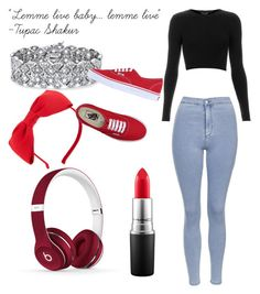 """""""red + blue jeans"""" by adventurerpearl on Polyvore featuring Topshop, Kate Spade, Beats by Dr. Dre, MAC Cosmetics, Palm Beach Jewelry and Vans"""