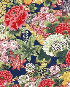 SECRET POND: Floral Coordinate - Navy/Gold (1/2 Yd.)
