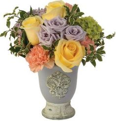 A charming cluster of roses and carnations in an attractive ceramic vase. Subtle and sweet. Ceramic Vase, Carnations, Floral Arrangements, Centerpieces, Roses, Spring Summer, Ceramics, Sweet, Flowers