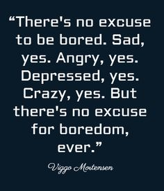 """There's no excuse to be bored. Sad, yes. Angry, yes.... #quote #sadness"