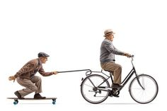 Senior riding a bike with another senior riding a longboard and. - Senior riding a bike with another senior riding a longboard and pulling himself with a cane stock p - People Cutout, Cut Out People, Bike Illustration, People Illustration, Photomontage, Render People, People Png, Bike Drawing, Bike Quotes