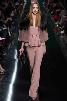 Black ombre effect in the fur make this slightly sweet dusty winter rose peplumed pantsuit a little more my side of the dressing for day closet. Elie Saab Fall 2014 Ready-to-Wear Collection Slideshow on Style.com