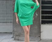 Plus Size Green Dress / Extravagant Cotton Tunic / Oversized Long Sleevesу / Green loose tunic by Eug Fashion