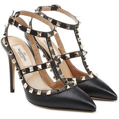 Valentino Rockstud Leather Pumps ($810) ❤ liked on Polyvore featuring shoes, pumps, black, black pumps, genuine leather shoes, black shoes, leather shoes and leather footwear