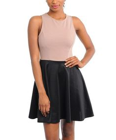 Take a look at this Black & Mocha A-Line Dress by Buy in America on #zulily today!