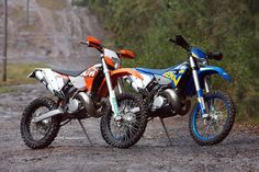 KTM 300 xc-w next to a Husaberg te300 A thing of beauty