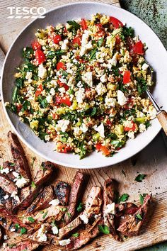 Minted lamb with couscous salad Dinner for two has never been easier with this minted lamb and couscous salad – on the table in just 15 minutes. Quickly sear minted lamb steaks and serve with a colourful couscous salad for easy summer cooking. Couscous Salad Recipes, Salad Recipes For Dinner, Dinner Salads, Lamb Steak Recipes, Goat Recipes, Cooking Recipes, Lamb Dinner, Salads To Go, Tesco Real Food