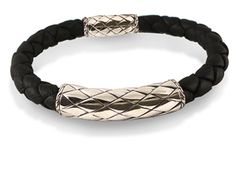 John Hardy Mens Naga Station Bracelet, Fashioned in Sterling Silver and Black Woven Leather