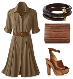 LOVE this khaki dress! And that wooden clutch? Oh yea