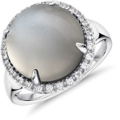 Blue Nile Gray Moonstone and White Topaz Round Halo Ring (€74) ❤ liked on Polyvore featuring jewelry, rings, pave setting ring, cabochon ring, sparkly rings, gray jewelry and white topaz rings