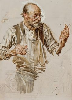 SHEAR [in-spuh-rey-shuhn], J.C. LEYENDECKER   The Toymaker  - Study Oil on...