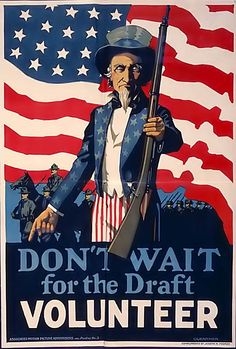 A World War 1 era poster with Uncle Sam asking men to volunteer rather than waiting to be drafted.Original image courtesy of the Library of Congress. Canvas Art, Canvas Prints, Art Prints, American Flag Wall Art, Army Colors, Thing 1, World War One, Vintage Posters, Vintage Prints