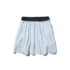 Abercrombie & Fitch Striped Skater Skirt (€22) ❤ liked on Polyvore featuring skirts, blue stripe, abercrombie fitch skirt, striped skirt, flared skirt, draped skirt and elastic waist skirt