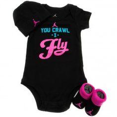 Jordan You Crawl I Fly 3 Pc Girl Infant Set (Black/Pink) $20.00