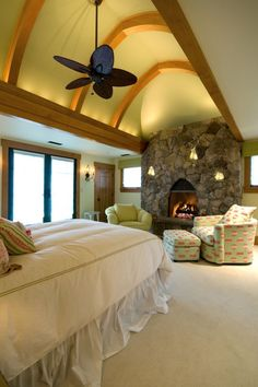 a bedroom with a fireplace...??    i'll take it thank you!
