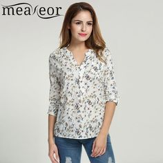 Cheap printed blouse, Buy Quality floral print blouse directly from China blouses tops Suppliers: Meaneor Women Floral Print Blouse Tops 1950s 60s Vintage Autumn Clothing Casual Roll Up Sleeve Cotton Fabric High Quality Blouse