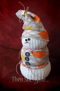 Sock snowman (link leads to sock snowman that looks different from this one.)