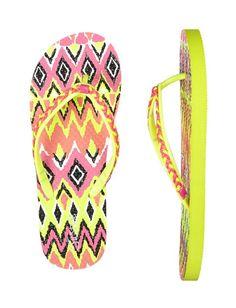 Neon Braided Tribal Flip Flops