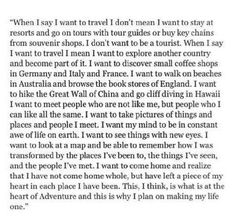 When I say I want to travel