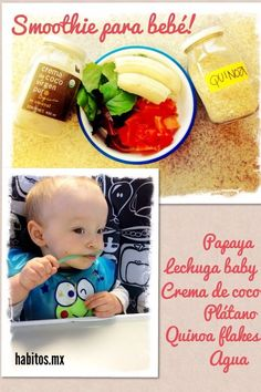 Bebés – smoothie con quinoa Toddler Menu, Toddler Food, Baby Food Recipes, Vegan Recipes, Vegan Baby, Smoothies For Kids, Wheat Grass, Kids Nutrition, Baby Feeding