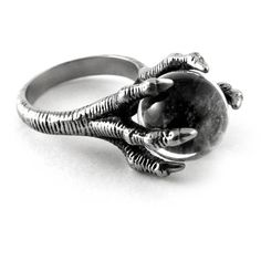 Dragon Claw Ring [S] ❤ liked on Polyvore featuring jewelry, rings, talon jewelry, claw ring, stainless steel jewellery, stainless steel jewelry and talon rings