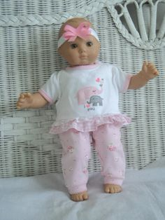 Bitty Baby Girl cute 3  pc   pants  Outfit with Elephant applique,     doll clothes on Etsy, $14.00