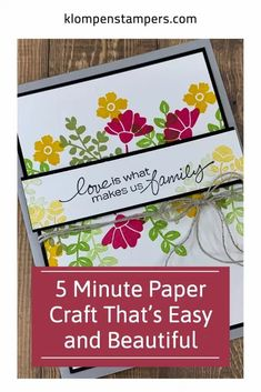 Paper crafts do not have to take a lot of time. Stamping is so much fun and I can't wait to show you how to make this DIY Card in minutes with some of my favorite card making supplies! Get started at www.klompenstampers.com. Card Making Supplies, Card Making Tutorials, Simply Stamps, Card Tags, Diy Cards, Quilling, Cardmaking, Paper Crafts, My Favorite Things